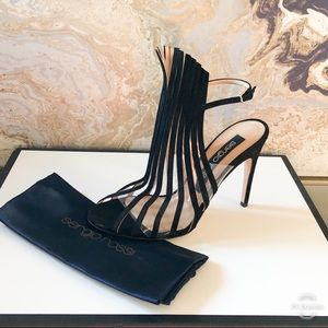 Sergio Rossi Leaf Detail Ankle Strap SuedeSandals
